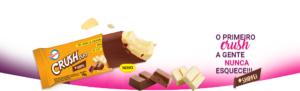 Picolé Crush Duo - Picolé de chocolate branco com duas camadas de chocolate, uma de chocolate branco e outra por cima de ao leite.